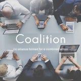 Concepto corporativo de la unión de Alliance de la asociación de la coalición imagenes de archivo
