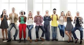 Concepto corporativo de los colegas de la comunicación de la cara del marco foto de archivo libre de regalías