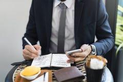 Concepto cosechado de Writing Notes Journal del hombre de negocios Fotografía de archivo