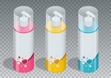 Concepto cosmético de la marca de la serie profesional del cuidado del cuerpo Gel del tubo, botella del jabón, empaquetado del ch Fotografía de archivo