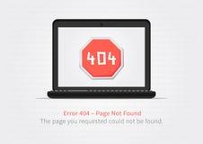 Concepto creativo de la página del sitio web 404 con el ordenador portátil Imagenes de archivo