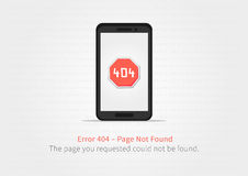 Concepto creativo de la página del sitio web 404 con el teléfono móvil Foto de archivo libre de regalías