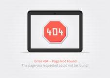Concepto creativo de la página del sitio web 404 con la tableta Fotos de archivo