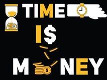 Concepto creativo de la palabra el tiempo es oro y gente que hace cosas ilustración del vector