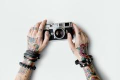 Concepto creativo de la película de la fotografía de la cámara del tatuaje medios Foto de archivo libre de regalías