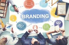 Concepto creativo de marcado en caliente del gráfico de negocio de la marca imagenes de archivo