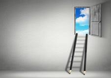 Concepto creativo del éxito, escaleras de los lápices al cielo Imagenes de archivo
