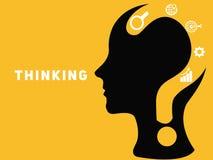 Concepto creativo del cerebro con el signo de interrogación ilustración del vector