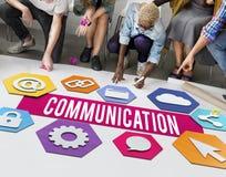 Concepto creativo del gráfico de la disposición de la gente de la comunicación foto de archivo libre de regalías