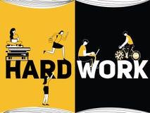 Concepto creativo Hardwork de la palabra y gente que hace cosas stock de ilustración