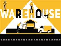 Concepto creativo Warehouse de la palabra y gente que hace cosas ilustración del vector