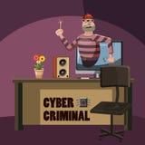 Concepto criminal del espía del ataque cibernético, estilo de la historieta libre illustration