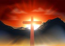 Concepto cruzado cristiano de Pascua Imagen de archivo libre de regalías