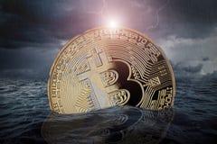Concepto crypto de la moneda del mercado de acción de la quiebra de Bitcoin Fotos de archivo libres de regalías