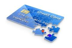 concepto 3D con rompecabezas de la tarjeta de crédito ilustración del vector