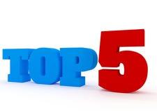 Concepto 3D del top 5 en blanco Imagenes de archivo