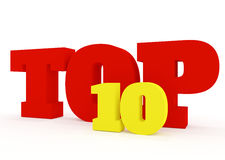 Concepto 3D del top 10 en blanco Imagenes de archivo