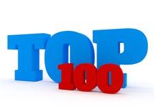 Concepto 3D del top 100 en blanco Imagen de archivo libre de regalías