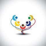 Concepto de árbol de familia feliz con los miembros como flores - vector Imágenes de archivo libres de regalías