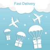 Concepto de aeroplano rápido de la entrega con las cajas de regalo libre illustration