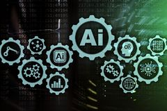 Concepto de alta tecnolog?a de las tecnolog?as del negocio de la inteligencia artificial Fondo futurista del sitio del servidor a fotos de archivo libres de regalías
