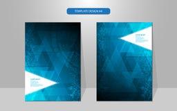 Concepto de alta tecnología del modelo geométrico del triángulo del diseño de la cubierta del extracto del vector Imágenes de archivo libres de regalías