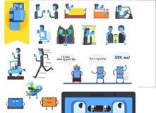 Concepto de apego de Internet Gente que usa smartphones Dispositivos con las caras Generación de Digitaces Iconos planos del vect libre illustration