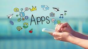 Concepto de Apps con smartphone fotos de archivo libres de regalías