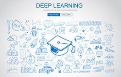 Concepto de aprendizaje profundo con estilo del diseño del garabato del negocio: en línea ilustración del vector