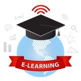 Concepto de aprendizaje remoto Ejemplo de la universidad de la escuela del aprendizaje electrónico Globo en un casquillo académic Imagenes de archivo
