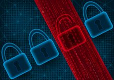 Concepto de ataque cibernético y de escape de los datos ilustración del vector
