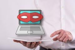 Concepto de ataque cibern?tico fotografía de archivo