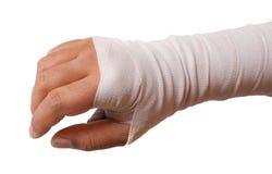 Concepto de Bandage.Pain. Aislado en blanco Imagenes de archivo