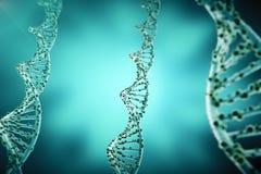 Concepto de bioquímica con la estructura de la DNA en fondo azul concepto de la medicina de la representación 3d libre illustration