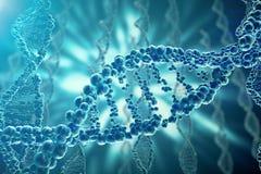 Concepto de bioquímica con la estructura de la DNA en fondo azul concepto de la medicina de la representación 3d ilustración del vector