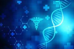 Concepto de bioquímica con la estructura de la DNA en fondo médico ilustración del vector