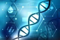 Concepto de bioquímica con la estructura de la DNA en fondo médico stock de ilustración