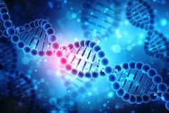 Concepto de bioquímica con la molécula de la DNA aislada en el fondo MÉDICO, representación 3d libre illustration