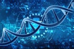 Concepto de bioquímica con la molécula de la DNA aislada en el fondo médico de la tecnología, representación 3d stock de ilustración