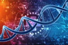 Concepto de bioquímica con la molécula de la DNA aislada en el fondo médico de la tecnología, representación 3d ilustración del vector