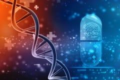 Concepto de bioquímica con la molécula de la DNA aislada en el fondo médico de la tecnología, representación 3d libre illustration