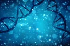 Concepto de bioquímica con la molécula de la DNA en fondo abstracto médico representación 3d Imagen de archivo libre de regalías
