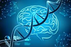 Concepto de bioquímica con la molécula de la DNA en fondo abstracto médico representación 3d ilustración del vector