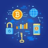 Concepto de Bitcoin Elementos de la ganancia de Cryptocurrency Imágenes de archivo libres de regalías
