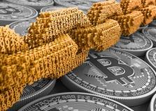 Concepto de Blockchain Cadena de Digitaces del oro de los números interconectados 3D y de Bitcoins de plata ilustración del vector