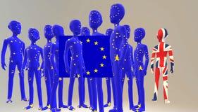 Concepto de Brexit Reino Unido que sale de la UE 3d rinden stock de ilustración