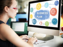 Concepto de Business Planning Strategy de la empresaria Fotografía de archivo libre de regalías