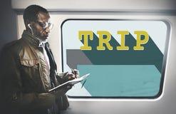 Concepto de Business Travel Exploring del hombre de negocios Foto de archivo