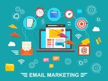 Concepto de campaña de funcionamiento del correo electrónico, audiencia del edificio, publicidad del correo electrónico, márketin stock de ilustración