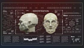 Concepto de cara que explora tecnología biométrica del reconocimiento facial exacto exploración polivinílica baja de la cara 3D,  ilustración del vector